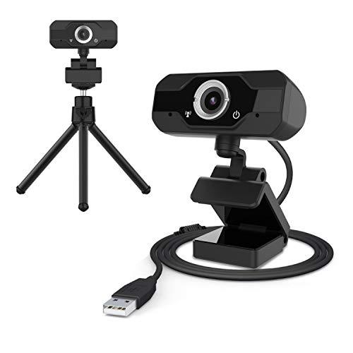 CUSFLYX FHD 1080P  30 fps USB 2.0 Webcam Ruotabile a 360 ° Doppio Microfono Incorporato Plug and Play per Videochiamate Videoconferenza Giochi di Classe Online per Desktop o Laptop (Include Treppiede)