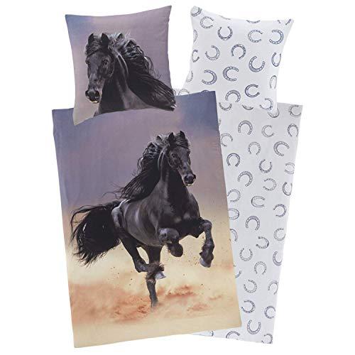 Aminata Kids Biber Bettwäsche 135x200 Kinder Pferde-Motiv aus Baumwolle, YKK-Reißverschluss, Kinder-Wende-Bettwäsche-Set mit...