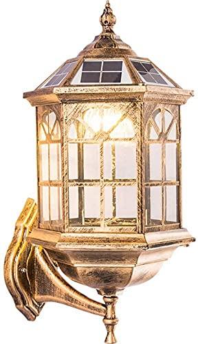 ZJJZ Lámpara de Pared con Foco Solar, Impermeable, Impermeable, de Seguridad para Exteriores, lámparas de jardín, Paisaje, con Interruptor de Control Remoto, Regulable, Encendido automático por l