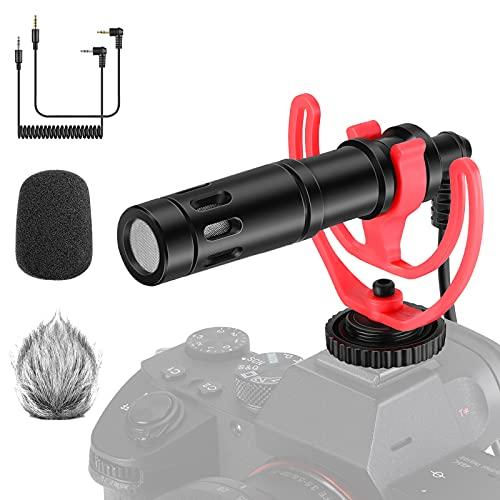 Neewer CM14 Microfono per Video con Supporto Anti-vibrazione, 3,5mm Cavi Audio, Cappuccio Peloso & Antivento in Schiuma, Microfono a Fucile Compatibile con iPhone Android Reflex Digitali Tablet