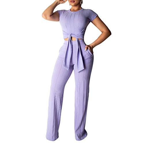 ECHOINE Women's Sexy 2 Piece Outfits - Slim Crop Top Shirts Wide Leg Pants Set Bodycon Jumpsuit Purple M