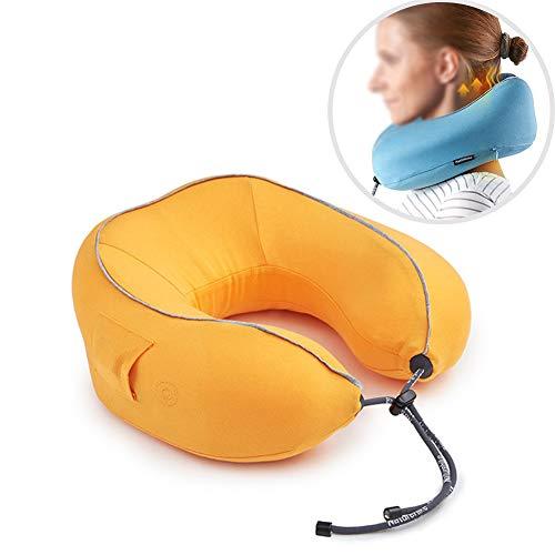 Cervical masajeador cuello hogar amasar cuello eléctrico almohada viaje siesta inteligente U tipo almohada de memoria,Yellow,27x26x11cm