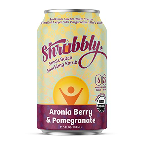 Shrubbly, Healthy Soda | Aronia Berry + Pomegranate | Shrub Drink + Seltzer | Apple Cider Vinegar Shot in a Delicious Alcohol-Free Sparkling Water Beverage | 12 pack | 11.5 oz cans