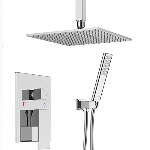 TANGAN Mixer Shower Set 10Inches Square Shower Head Handset and Chrome Brass 2 Way Valve Kit Best High Pressure Rain Massage and Rainfall Settings for Bathroom