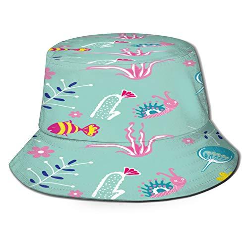 fudin Unisex Fischerhut Kreativer universeller Blumenkopf-tropischer Stil Faltbare Outdoor Strand Sonnenhut Eimer Hut,Wandern,Camping