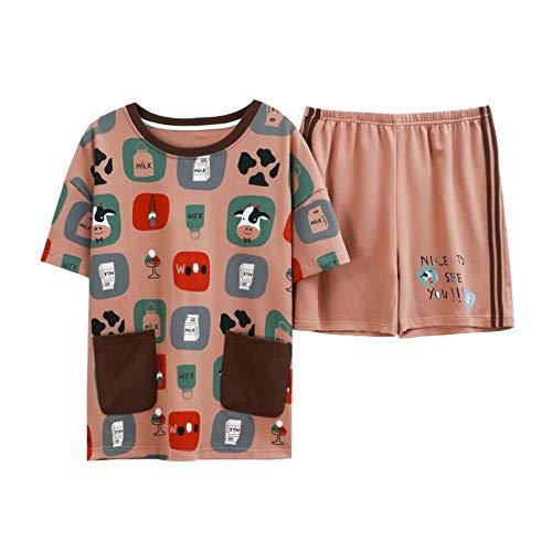FLORVEY Primavera Verano Ropa de Dormir Conjuntos de Pijamas Estampados para Mujer algodn Homewear seoras Pantalones Cortos de Manga Corta Lencera Pijamas de Dibujos Animados