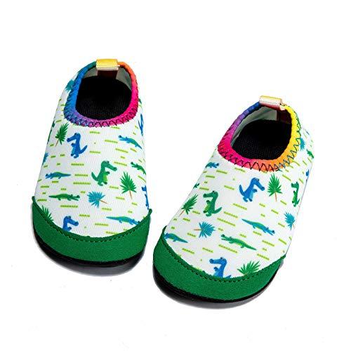 Panda Software - Calzino per bambini e bambine, a piedi nudi, ad asciugatura rapida, antiscivolo, per piscina, Verde (Dinosauro), 25/28 EU