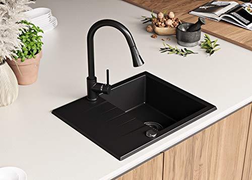 Granitspüle mit Siphon Mailand Einbauspüle Spülbecken Schwarz Küchenspüle Unterschrank Küche ab 45cm Spüle aus Granit mit Ablaufgarnitur Drehexcenter und Überlauf von Primagran