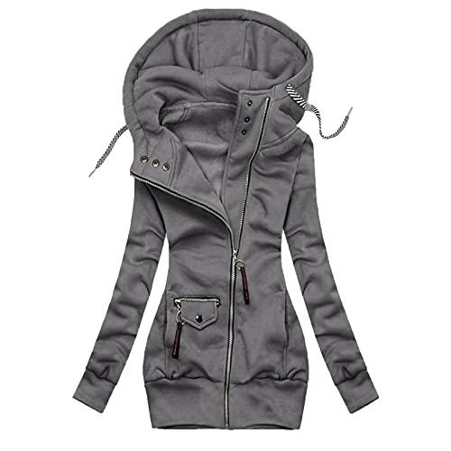 Women's Hooded Turtleneck Full Zipper Sweatshirt Jacket Solid Color Drawstring Coat With Pocket
