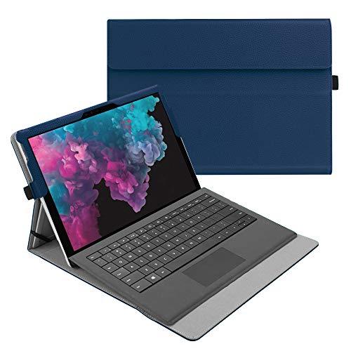 Fintie Hülle für Microsoft Surface Pro 7+/ Pro 7/ Pro 6/ Pro 5/ Pro 4/ Pro 3 12,3 Zoll Tablet - Multi-Sichtwinkel Hochwertige Tasche Schutzhülle aus Kunstleder, Type Cover kompatibel, Marineblau
