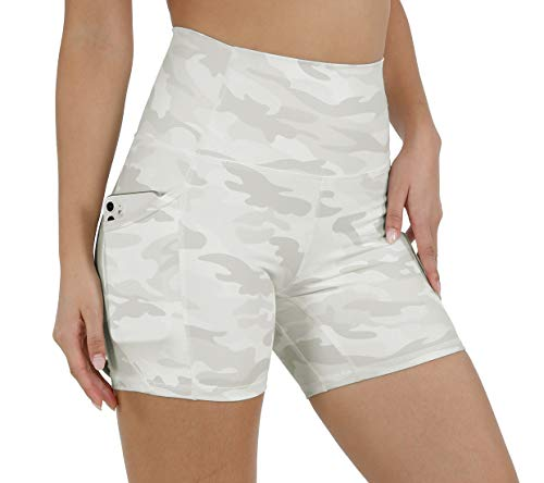 ODODOS Women's 5' High Waist Pattern Workout Bike Shorts, Yoga Running Compression Exercise Biker Shorts with Out Pockets, White Camo, Medium