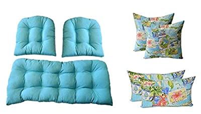 3 Pc Wicker Cushion Set - Solid Cancun Blue Cushions + 4 Tropical Postcard Pillows - Indoor / Outdoor Fabric