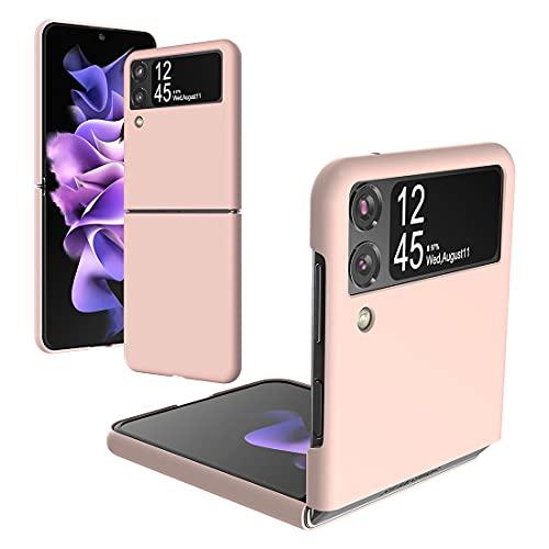 Foluu Für Samsung Galaxy Z Flip 3 Hülle, Galaxy Z Flip 3 Slim Phone Hülle, Premium Thin Full Protection Hard PC mit Anti-Rutsch Grip Schutzhülle für Samsung Galaxy Z Flip 3 5G 2021 (Pink)