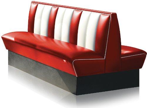Bel Air Dinerbank Eckbank Sitzbank Bank Einrichtung Gastronomie Dinermöbel Lounge (Red/White)