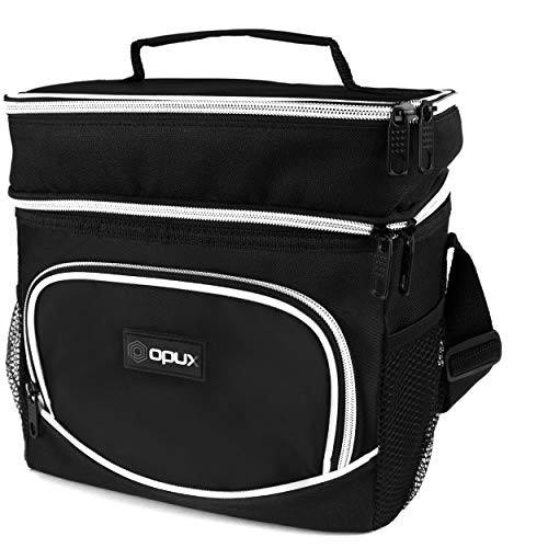 OPUX Dual Compartment Lunch Box Men Women  Double Deck Leakproof Lunch Bag Work Office School  Insulated Soft Cooler Tote Shoulder Strap Adult Kid  Reusable Thermal Lunch Pail Kit 12 Cans Black