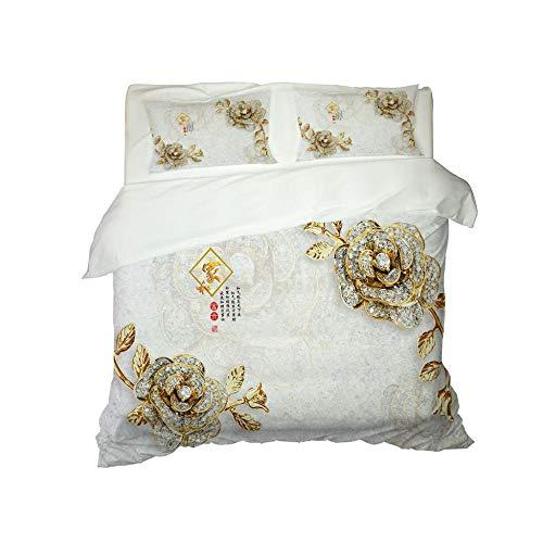 CJZYY 3D Duvet Cover Gem flower Printed Bedding Duvet Cover with Zipper Closure,3 Pieces (1 Duvet Cover +2 Pillowcases) Ultra Soft Microfiber Bedding -King 220 X 230 cm
