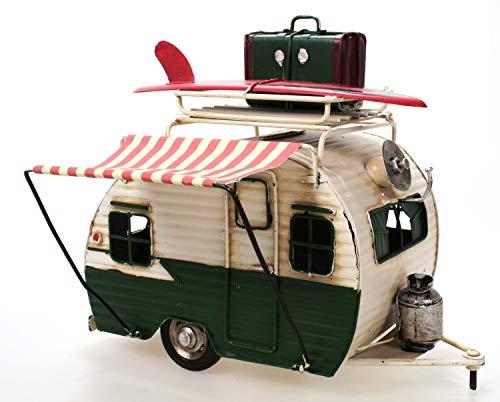 Unbekannt Wohnwagen aus Metall grün mit Rahmen und Spardose Camper Auto Oldtimer Nostalgie