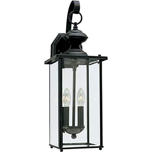 Sea Gull Lighting 8468-12 Jamestowne Transitional Two - Light Outdoor Wall Lantern Outside Fixture, Black Finish