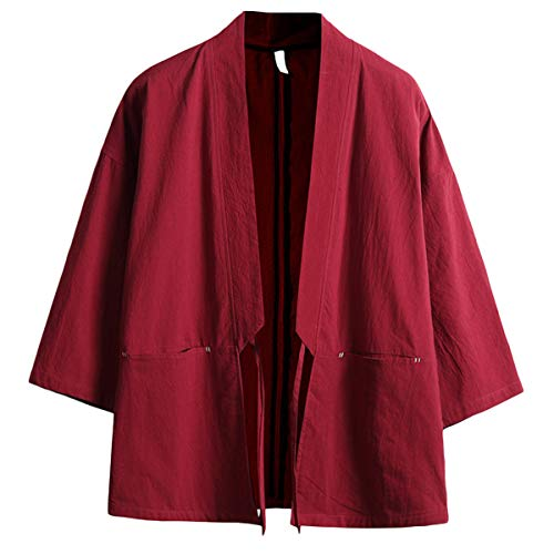 Mirecoo - Chaqueta de algodón para hombre, diseño japonés Happi Kimono Haori Rojo vino 13. S