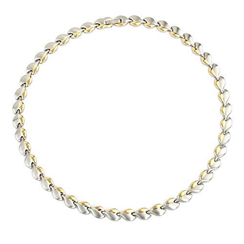 N+NITROLUBE Magnetic Therapy Stainless Steel Chain Necklace for Women,Healing Neck Arthritis Headaches Shoulder (Silver-Gold)