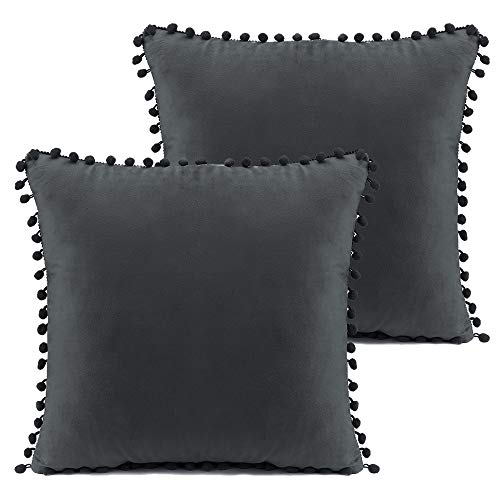 L-FADNUT 2 Pack Cushion Covers 45x45 Velvet Pom Pom Cushion Covers 18x18 Inches Pack of 2 Square Decorative Throw Pillow Cases Protectors for Living Room Bedroom Sofa Dark Grey