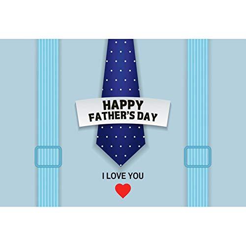 Yeele 3x2m Vaderdag Fotografie achtergrond Gelukkige vaderdag Shirt Stropdas Liefde hart Blauw Achtergrond Foto Achtergrond voor fotografie Familiefeest Foto Video Props