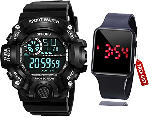 Acnos Brand – A Digital Watch with Square LED Shockproof Multi-Functional Automatic Black Color Strap Waterproof Digital Sports Watch for Men's Kids Watch for Boys Watch for Men Pack of 2