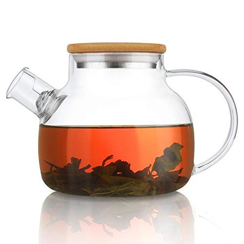 CnGlass Glass Teapot with Bamboo Lid,30.4oz Clear Teapots with Removable Infuser,Stovetop Safe Teapot for Loose Leaf and Blooming Tea,Flowering Tea Gift Set