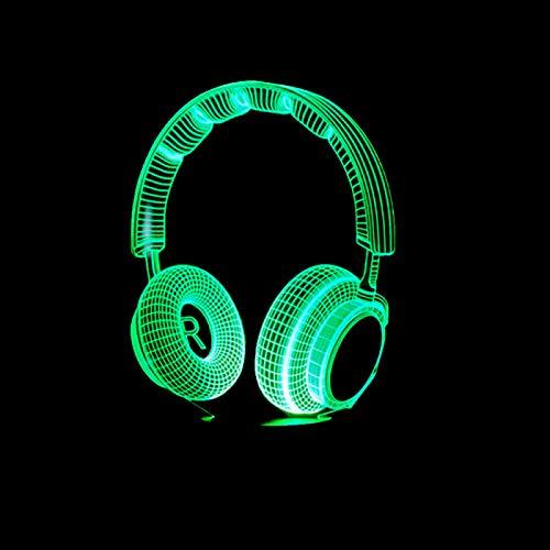 KangYD Headset Headphones 3D Night Light, LED Optical Illusion Lamp, D - Remote Crack White(16 Color), Bedside Lamp, Table Lamp, Art Night Lamp, Modern Lamp, Fashion Light