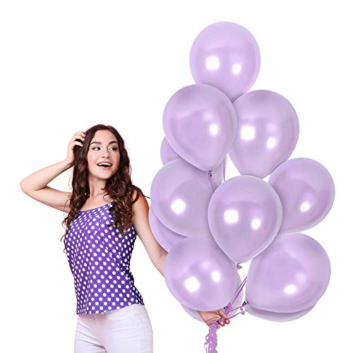 Treasures Gifted 12 Inch Lavender Purple Latex Balloons Pack of 100 Pieces with Ribbons Metallic Latex Decorations for Theme Bridal Shower or First Mermaid Birthday Party Supplies