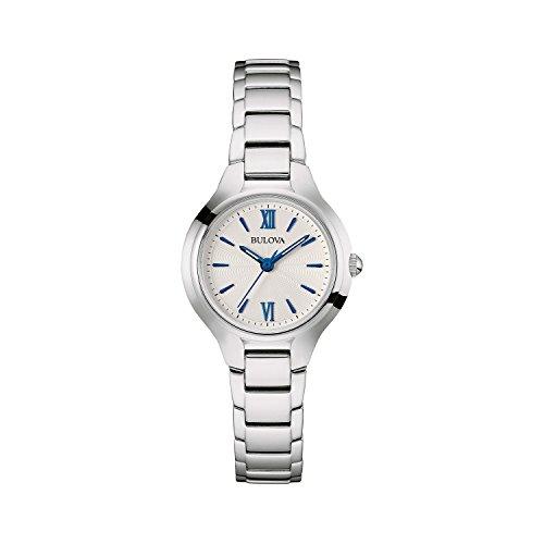 Bulova orologio da donna disegnata da donna in acciaio INOX–bianco blu quadrante classico vestito orologio da polso 96L215