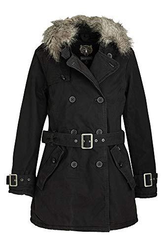 Khujo dames winterjas MELITAEA getailleerde korte jas met imitatiebont en riem