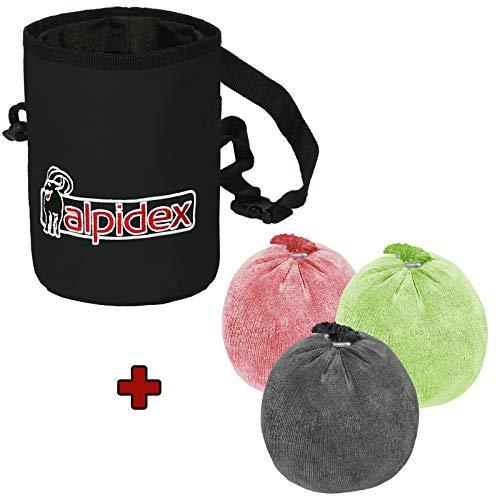 ALPIDEX Magnesiabeutel Chalk Bag Schwarz Inklusive 3 x Chalk Ball 60 g Bunt Gemischt