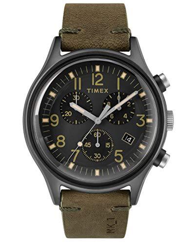 Timex Relógio masculino cronógrafo de quartzo com pulseira de couro TW2R96600