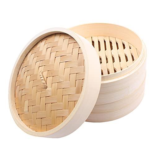 HANHAN Cuoci Riso al Vapore, Vaporiera in Bamboo Naturale 2 Piani con Coperchio, Cestello Cottura a Vapore, 21CM