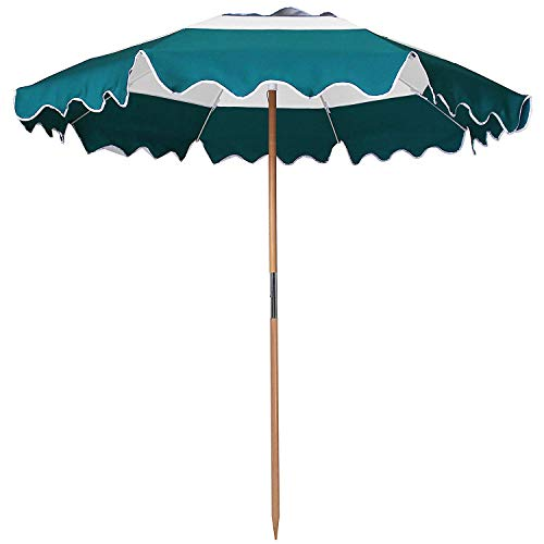 AMMSUN 7.5ft Fiberglass Ribs Commercial Grade Patio Beach Umbrella with Air- Vent Ash Wood Pole & Carry Bag Teal/White
