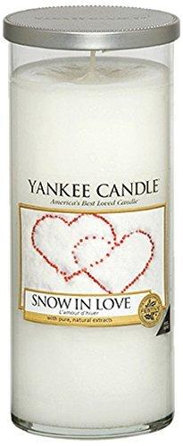 YANKEE CANDLE Pillar Candele Décor Snow in Love, Bianco, 8.2x8.3x19.3 cm