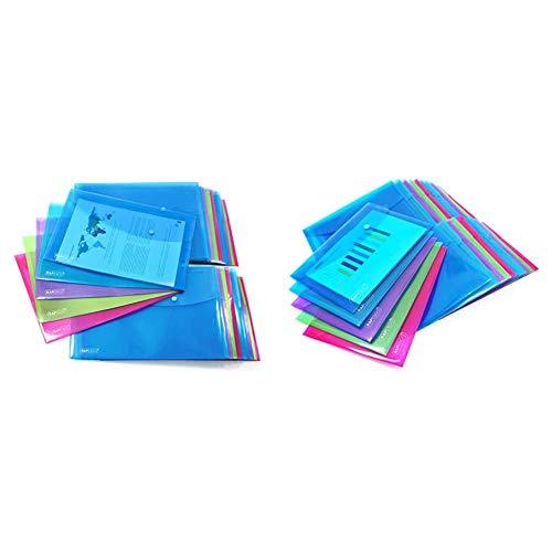 Rapesco Documentos - Carpeta portafolios A4+ horizontal, en varios traslúcidos, 20 unidades, polipropileno, foolscap + 1498 - Pack de 25 carpetas con cierre de corchete, A5, transparente