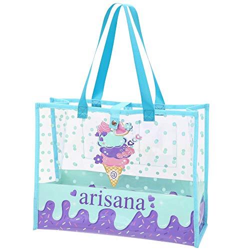 [アリサナ] arisana プールバッグ 女の子 ビニール ビーチバッグ 大容量 おしゃれ アイス柄 ミント