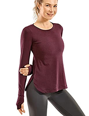 CRZ YOGA Women's Sports Shirt Hiking Running Workout Long Sleeve Top with Thumbholes Antique Burgundy Large