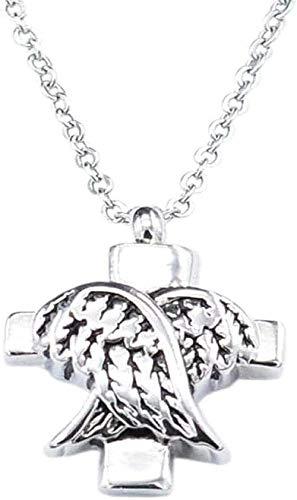 NC134 Collar de Tendencia Retro clásico de Moda con Personalidad para Hombres y Mujeres, Colgante de Botella de Perfume con alas fáciles de Combinar