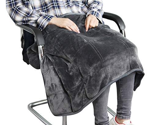 MAXTID Weighted Lap Blanket Travel Size Heavy Lap Pad 39in x 23in 8 Lbs - Dark Grey for Adults, Kids
