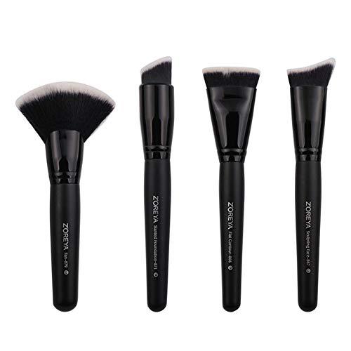 4pcs Fondation Maquillage Pinceau Maquillage Contour plat professionnel outil Pinceau Convient for les débutants et les amateurs (Couleur : Noir)