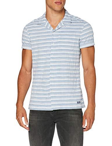 Superdry Cabana Shirt Camisa, Azul (Dobby Stripe Navy 3am),