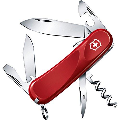 Victorinox Evolution S101 Couteau de Poche Suisse, Léger, Multitool, 12 Fonctions, Lame Fixe, Tire Bouchon, Rouge