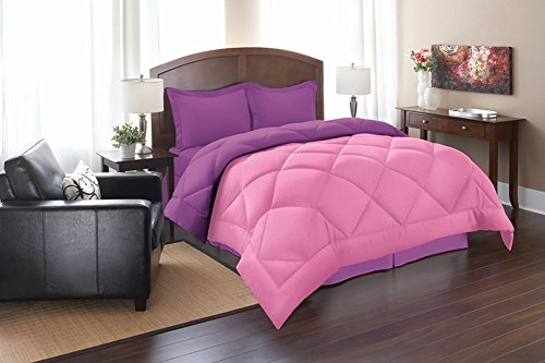 Elegant Comfort All Season Goose Down Alternative Reversible 3-Piece Comforter Set- Available In All Sizes And Colors, Full/Queen, Pink/Purple