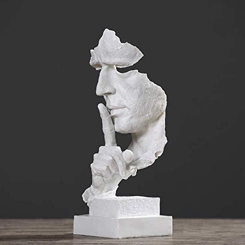 JJDSN El Silencio Creativo es esculturas de Oro, Figuras de Arte Hechas a Mano para el Estudio de la Barra de Oficina, decoracin de Escritorio Abstracta Las estatuas del Pensador Plateado 13x12x1