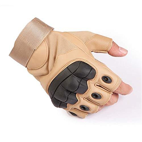 YUZZZKUNHCZ Guantes de mujer con pantalla táctil para deportes al aire libre, de cuero, negro, verde, marrón, tamaño: S/M/L/XL (color: medio dedo marrón)
