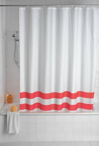 WENKO 19246100 Duschvorhang Tropic Red - waschbar, mit 12 Duschvorhangringen, Kunststoff - Polyester, Weiß