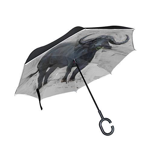Double Layer Inverted Outdoor Taschenschirm Beautiful African Buffalo Sunset Travel Wendeschirm Regenschirm Inverted Compact Windproof UV-Schutz für Regen mit C-förmigen Griff
